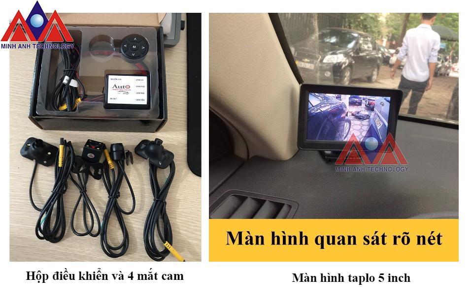 camera 360 độ mini quan sát 4 hướng quanh xe ô tô