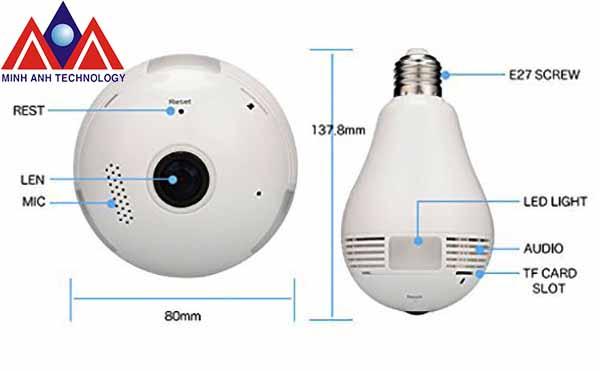 Camera quan sát 360 độ ngụy trang bóng đèn